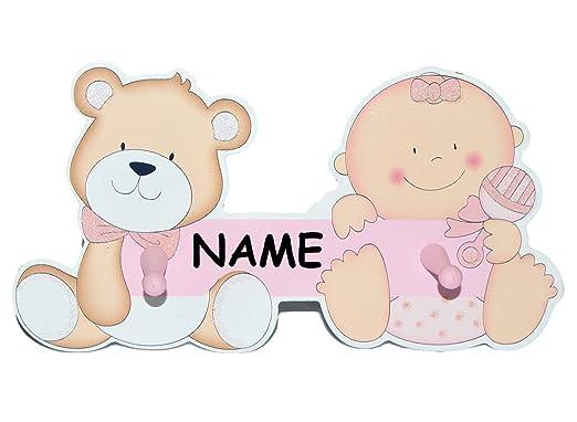 Unbekannt Garderobenhaken Incl Name Baby Und Teddybar Aus Holz