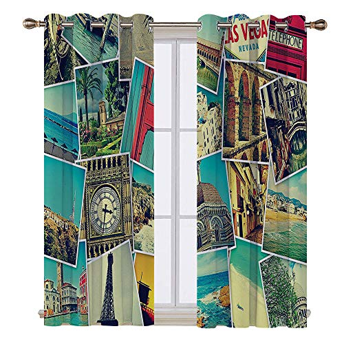 (SATVSHOP Solid Ring top Blackout Window Curtains/Drapes Two Panels - 55W x 39L Inch-Holiday Mosaic with s of Different Plac Landmarks Snapshots Travel Vacation Theme)