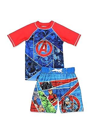 76f5202908 Amazon.com: Avengers Superhero Boy's Swim Trunks and Rash Guard Set ...