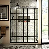 DreamLine Unidoor Toulon 58-58 1/2 in. W x 72 in. H Frameless Hinged Shower Door in Satin Black, SHDR-2458720-89
