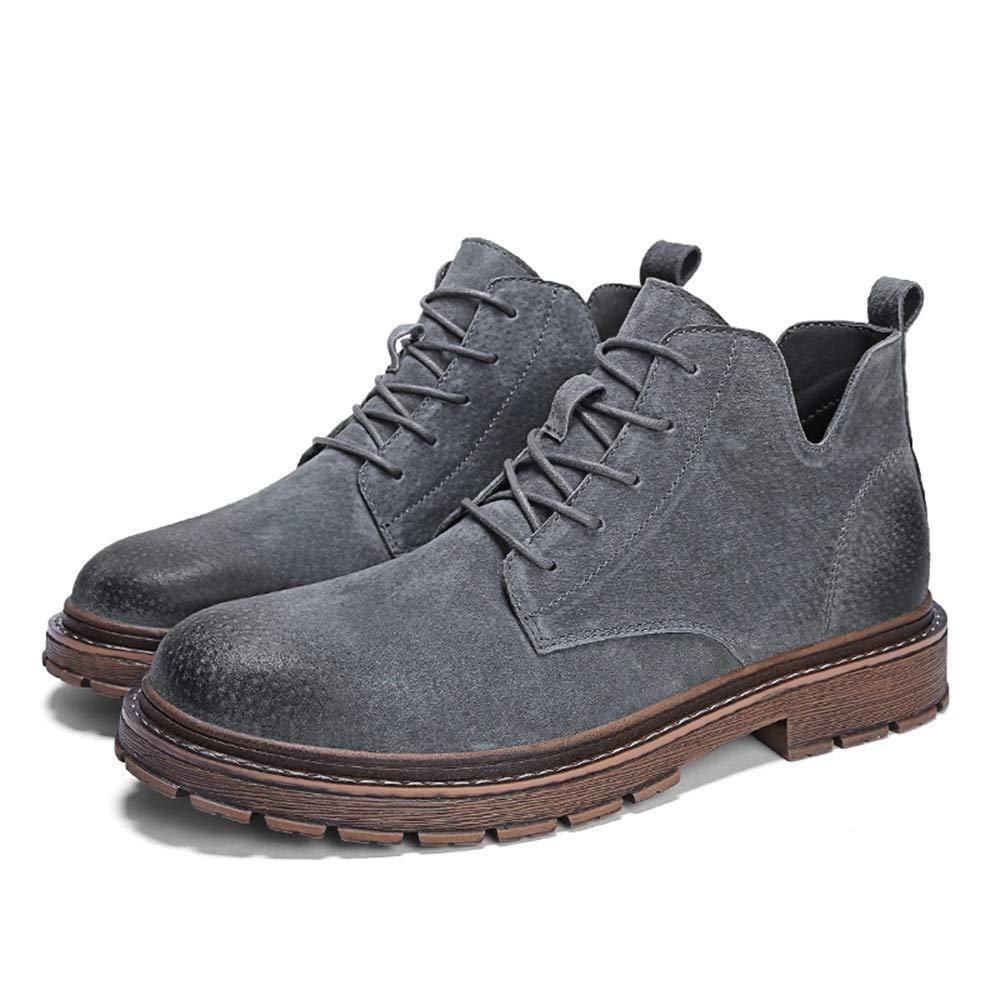 Jiuyue-schuhe, Mode Knöchelarbeitsstiefel Lässige Outdoor Herbst Und Winter Vintage Hohe Stiefel für Männer,2018 Herren Stiefel (Farbe   Grau, Größe   40 EU)