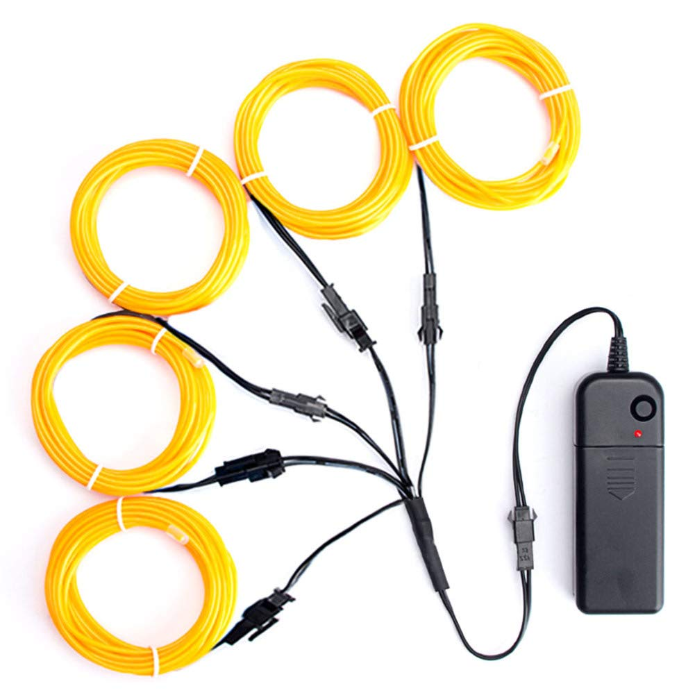 TICOZE EL Wire Blue Neon Lights, 5 by 1-Meter (1m/3ft) El Wire Kit with Battery Pack for DIY Party Halloween