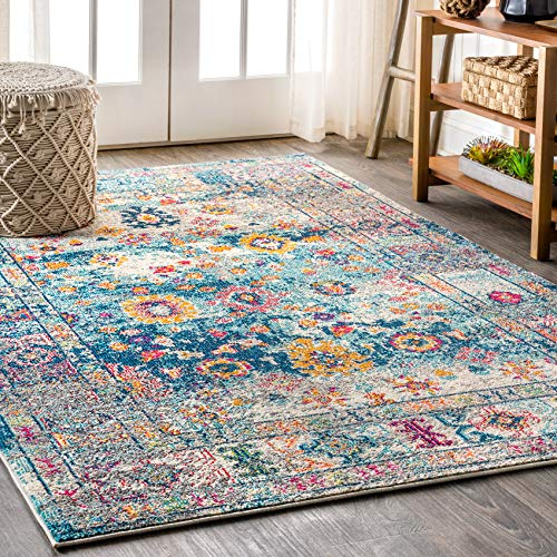 JONATHAN Y BMF103 Bohemian Flair Boho Vintage Faded Navy/Cream 8 ft. x 10 ft. Area Rug, 7