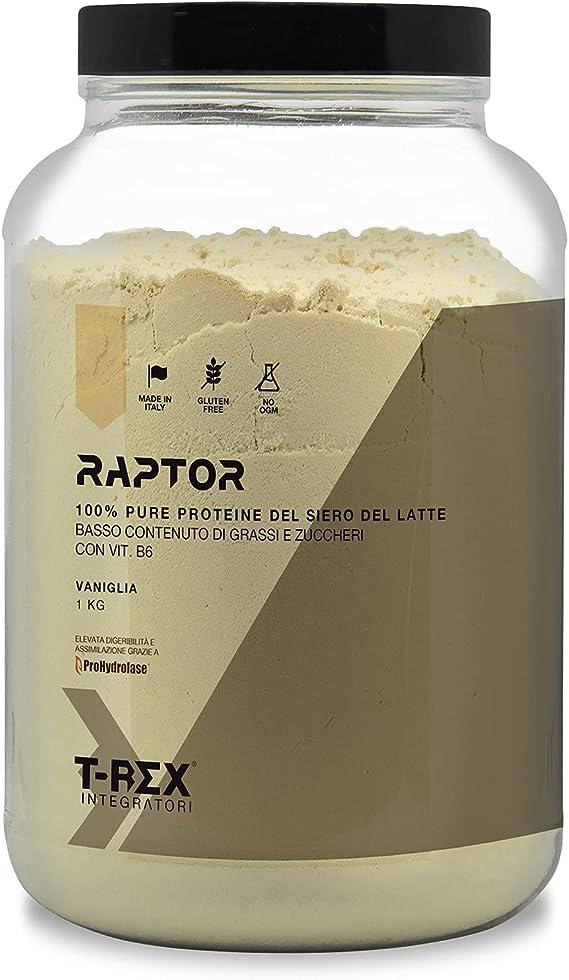 Whey Protein RAPTOR | Proteína de Suero de leche Aislada/Concentrada | VOLAC | Sabor VAINILLA - 1 kg | T-Rex Integratori 100% Fabricado en Italia