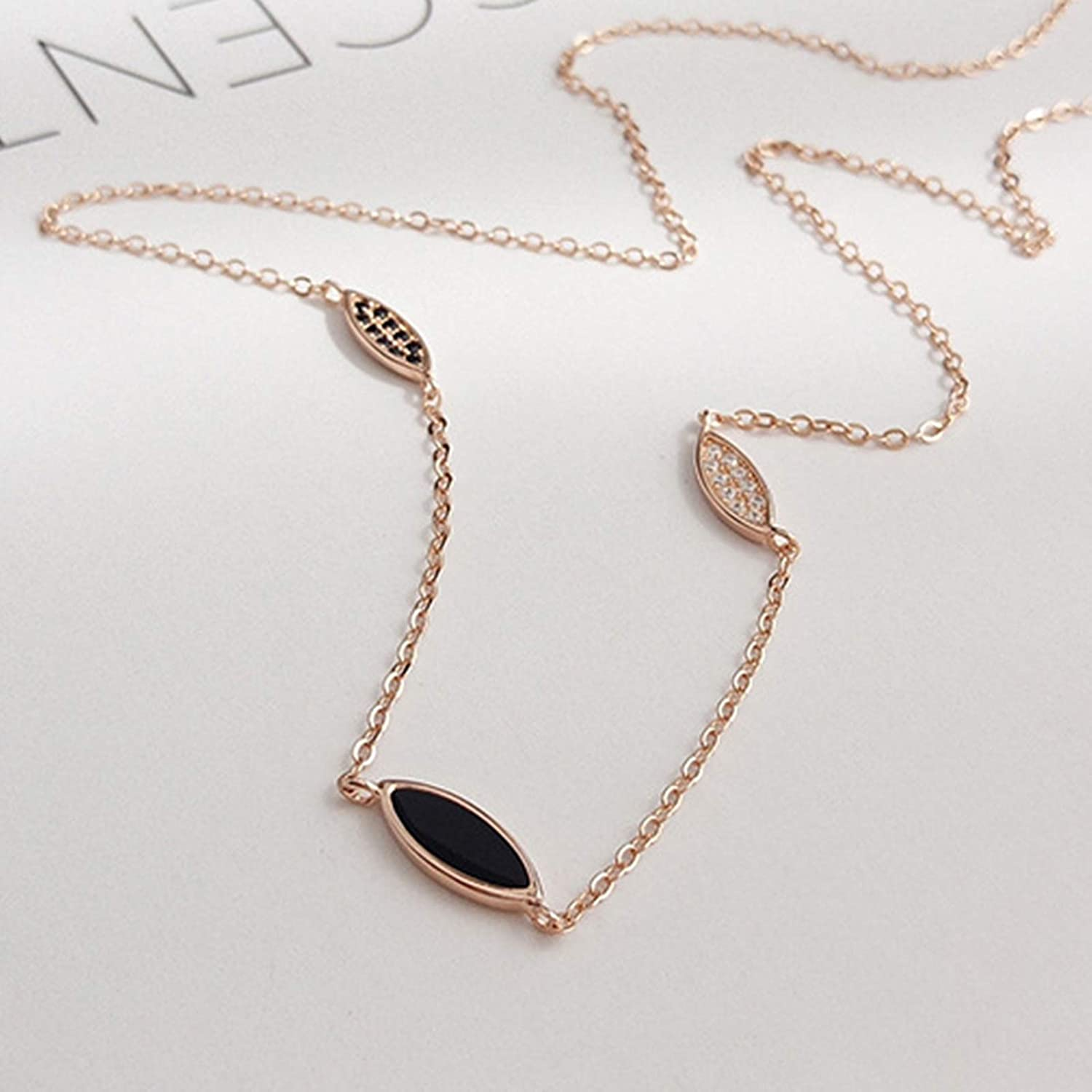 Daesar 925 Sterling Silver Necklace for Women Necklace Leaves Necklace Rose Gold