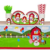 Creative Converting Farmhouse Fun Party Pack for 16 Guests: Straws, Luncheon Plates, Beverage Napkins, Cups, Cutlery, and Table Cover