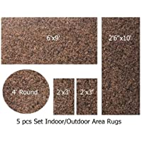 Indoor-Outdoor Chocolate, 5 Piece Set Patio Rugs, (6x9, 26x10 Runner, 4 ROUND, 2-2X3.)