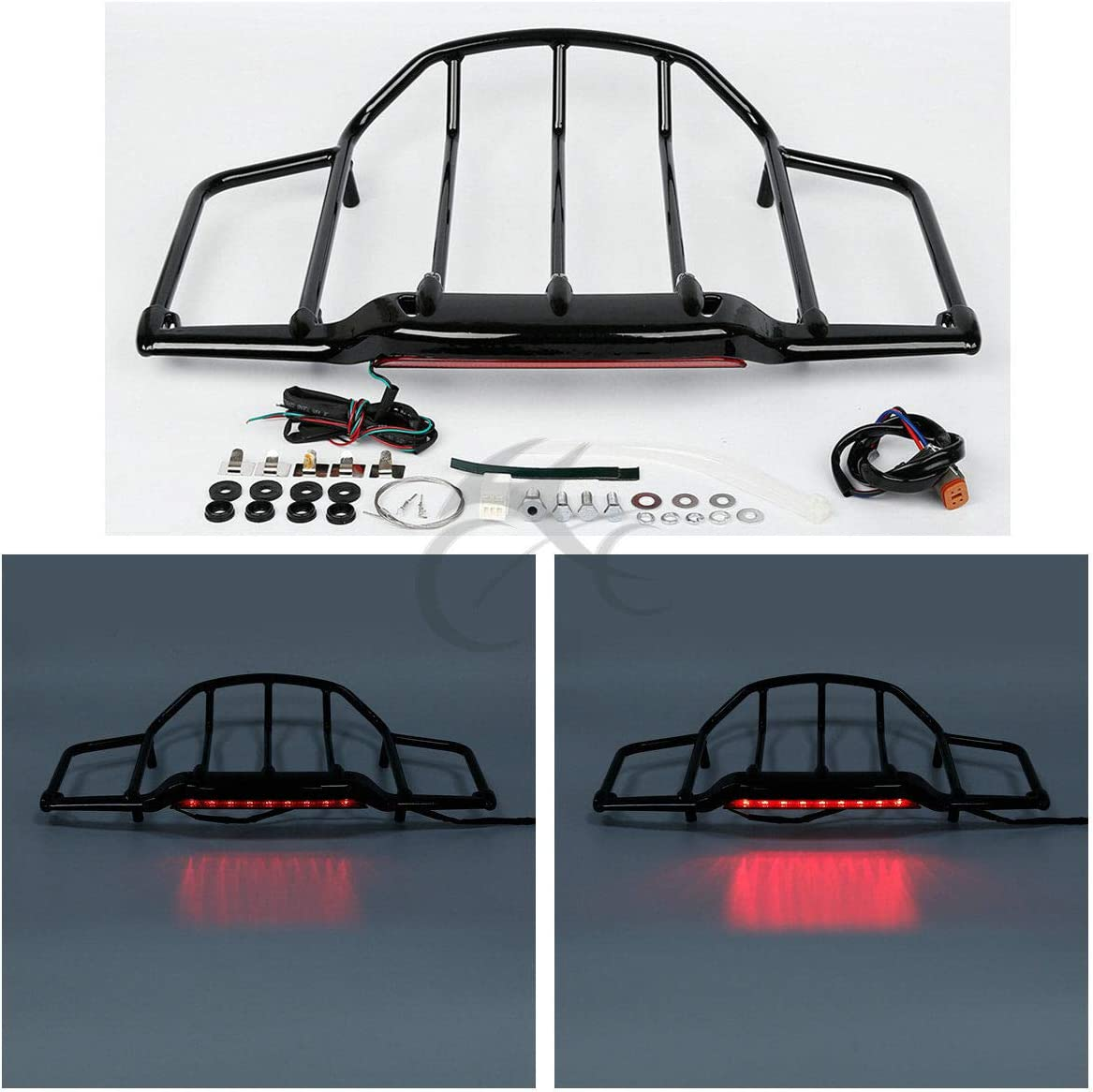 TCT-MT Luggage Rack With LED Light For Harley Air Wing Tour Pak Trunk Pack Touring FLH FLHX FLHR FLTR 1993-2013 Electra Glide Classic FLHTC Black 12