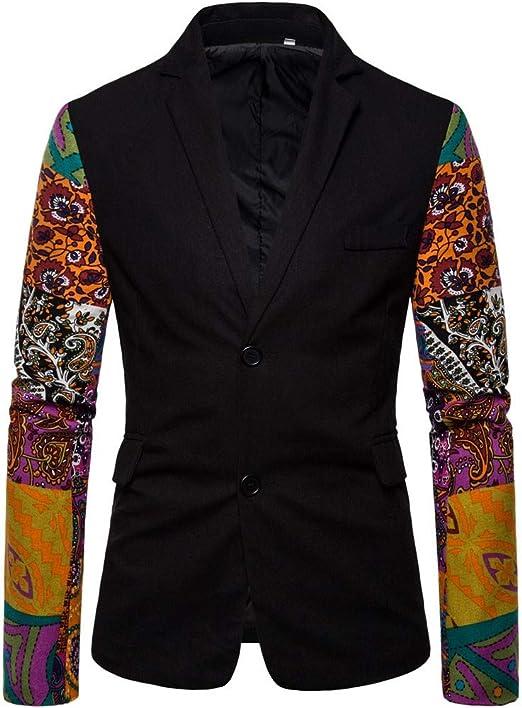 Tosonse Blazer Hombre Casual Vintage Étnico Vestido Estampado ...