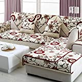 A.B Crew Soft Plush Microfiber Sectional Thick flannel skid Sofa Seats Slipcover Pad Furniture Protector(Flower Season,35''63'')