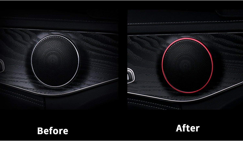 Xotic Tech 4pcs Red Aluminum Car Door Audio Box Speaker Decorative Ring Cover Sticker for Mercedes W205 C GLC Class 2015-up