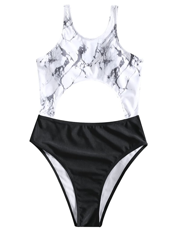 Vintage Single Piece Briefs Breathable Elasticity Short Swimming Trunks Polyester Swimwear High Waist Underwear Folds Waist Soft Handsome Appearance Swimming