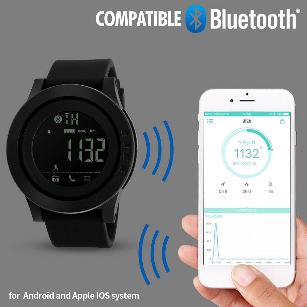 Smart Watch Pedometer Calories Bluetooth Clocks Waterproof Digital Outdoor Chronograph Sports Watches (Blue)