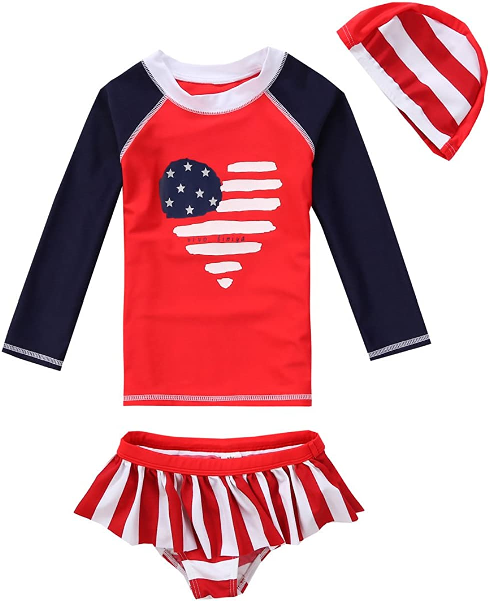 Baby Toddler Girl Two Piece Swimsuit Set Kid Swimwear Bathing Suit UPF 50+