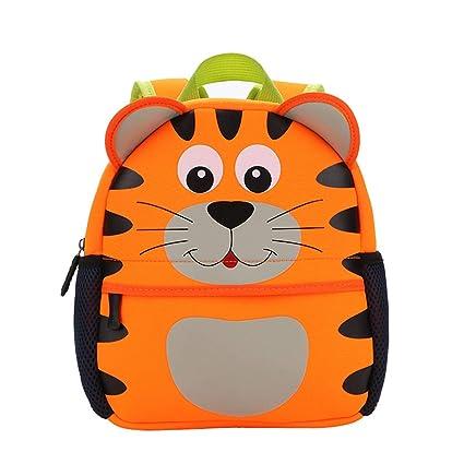 AHWZ Niños Escuela Bolsa guardería Cartoon Mochila Animal Bolsa bebé Impermeable Bolsa,Tiger