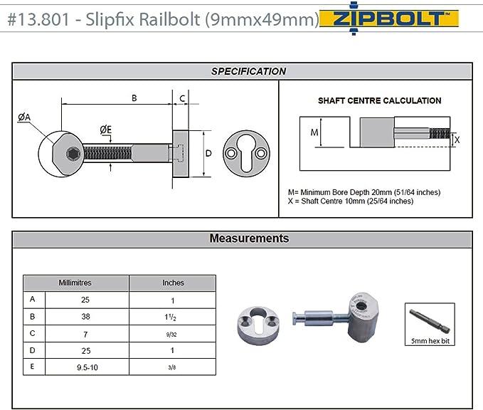 ZIPBOLT QT13.900KIT coudé Slipfix Kit pour Râteau applications