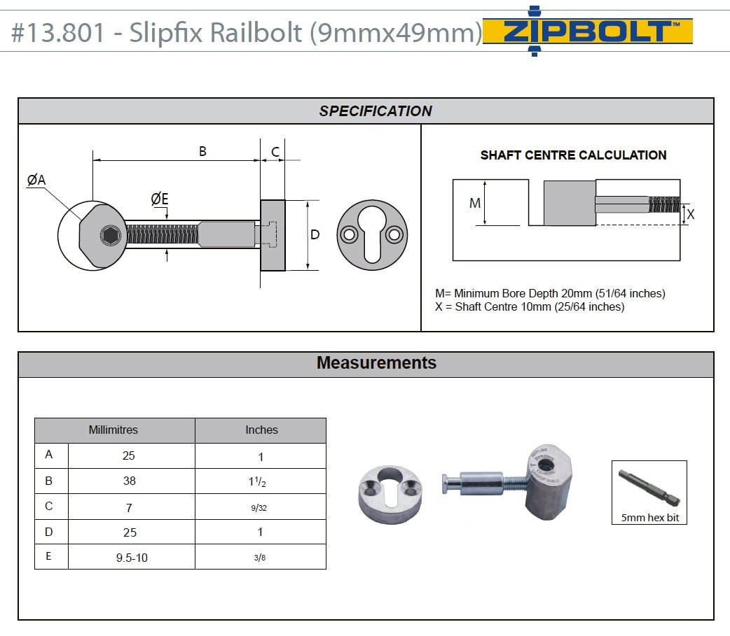 Zipbolt 13.801 Slipfix Railbolt - Connects Staircase Handrail to Newel Post - 10 Pack - Includes 5mm Hex Bit with Quick Release Shank