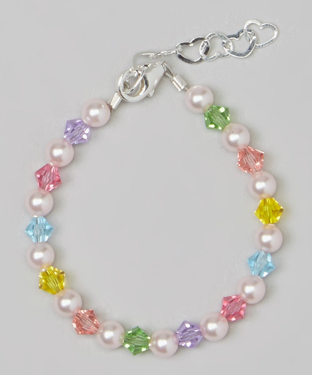 Stylish Sterling Silver Baby Girl Bracelet Gift with Pink Swarovski Simulated Pearls and Multicolor Crystals (BMCB_M+)