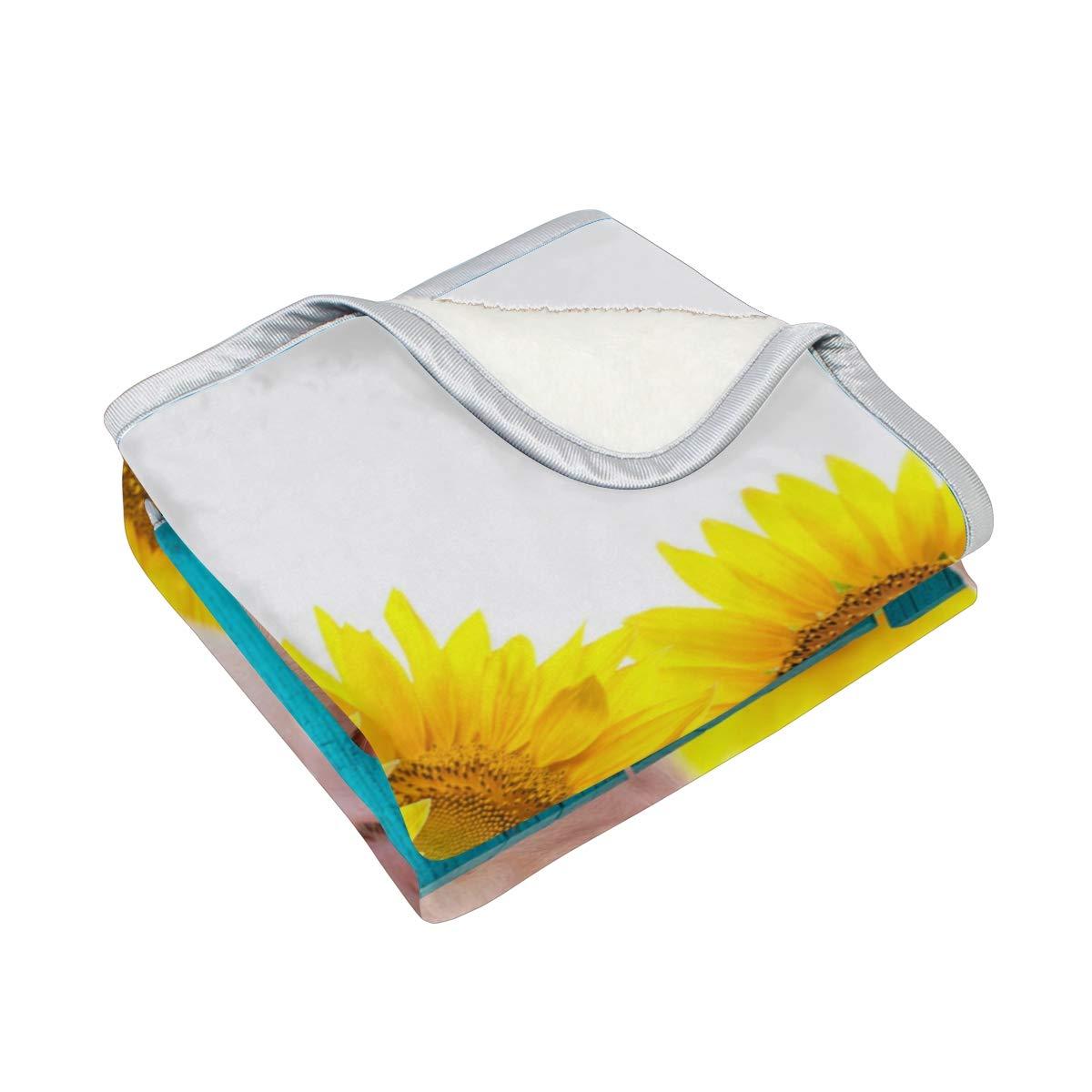 leicht Outdoor weich Reisen 127 x 152 cm warm Samt vinlin Lustige Decke mit Sonnenblumenmotiv für Wohnzimmer