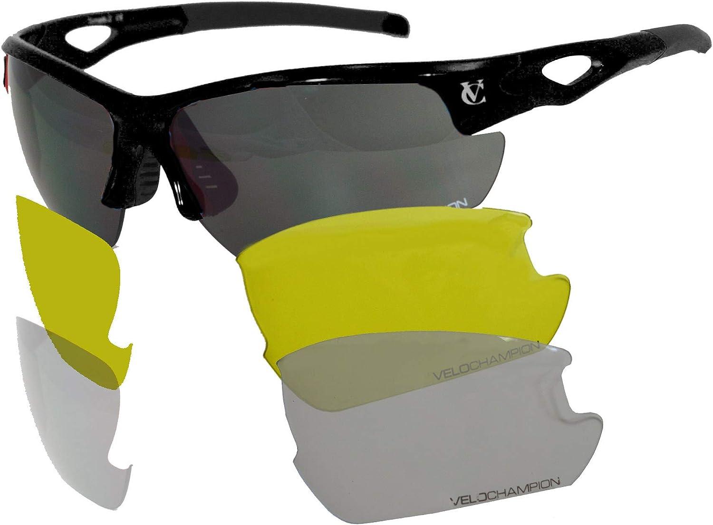 VeloChampion Tornado - Gafas de Sol - Ciclismo Running (3 Juegos de Lentes Intercambiables y Funda)