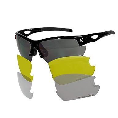0d0f8d5345d48 VeloChampion Tornado Sunglasses with 3 Sets of Interchangeable Lenses and  CaseBlack.