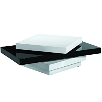 Armen Living LCT54COBW Modern Swivel Coffee Table With And Black And White  Gloss Finish