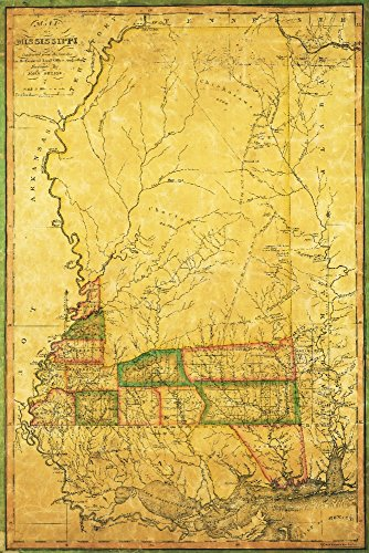 (Mississippi - (1820) - Panoramic Map (24x36 Giclee Gallery Print, Wall Decor Travel Poster))