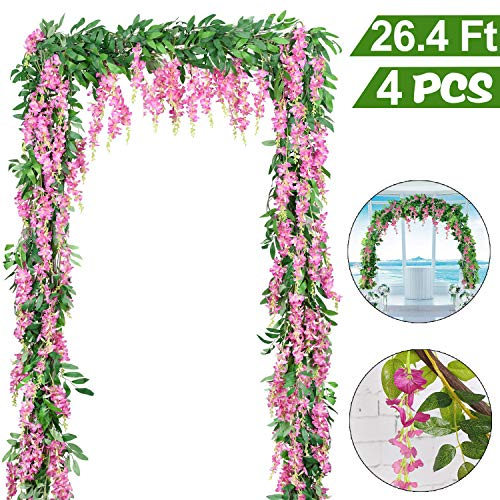 4 PCS 6.6Ft Artificial Wisteria Flowers Garland Fake Wisteria Floral Garland Ivy Vine Silk Flowers String for Wedding Decorations Garden Home Party Indoor Outdoor Decor(Pink) from Camlinbo