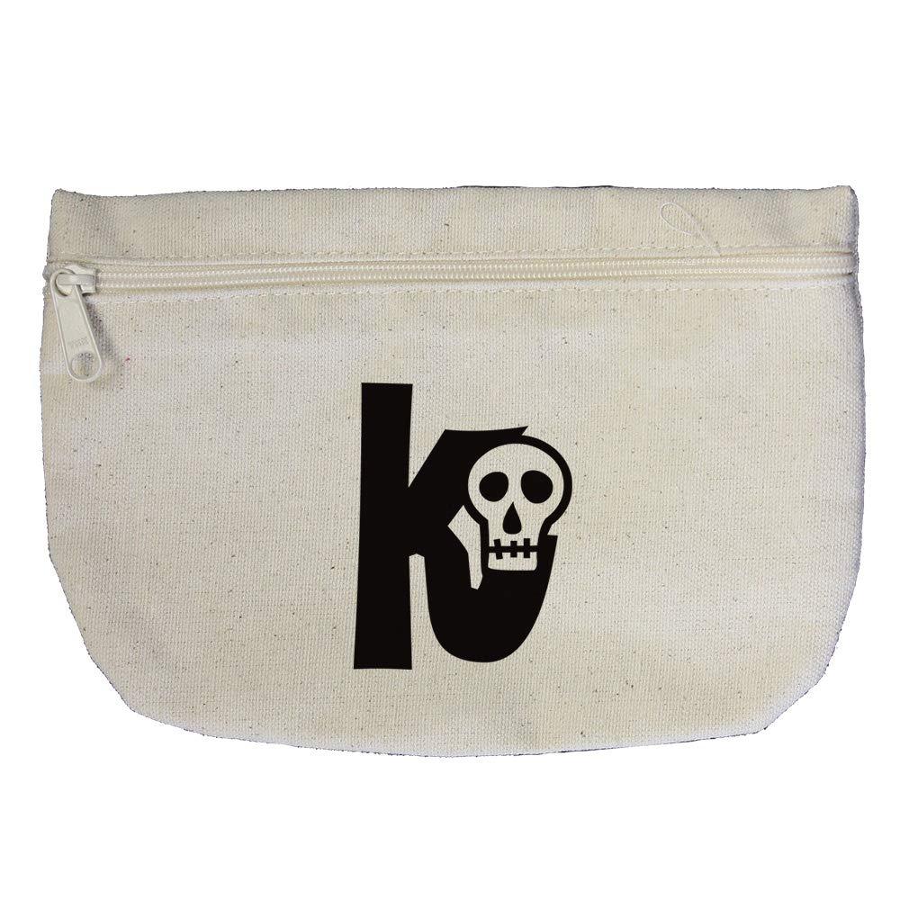 """K"" Skulls Initial Monogram Letter K Cotton Canvas Makeup Bag Zippered Pouch"