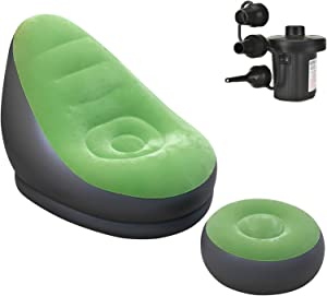 LIXIANSHI Inflatable Lounge Chair with Ottoman Blow Up Chaise Lounge Air Lazy Sofa Set (Green)