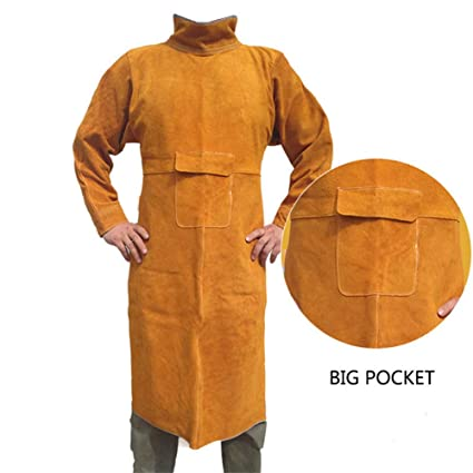Delantal de soldadura de cuero, Soldadura Abrigo largo Delantal Durable Piel de manga larga Soldador