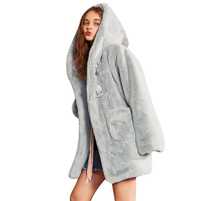 Internet Abrigo de orejas de conejo de felpa de invierno de mujer Abrigo largo de piel de imitación con capucha Lindo abrigo de orejas de conejo con ...