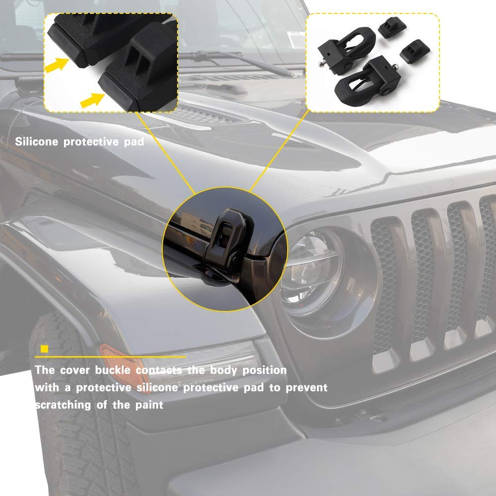 WeifangInspire Latch Locking Hood Catch Kit for Jeep Wrangler 2007-2018 JK JL Black Stainless Steel Catch Kit Accessories