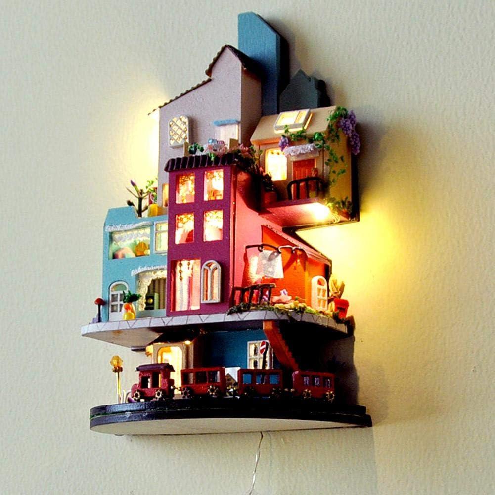 Bouder DIY Cabin House Puppenhaus Kit 3D Assembled Cottage Handmade House Cabin f/ür Weihnachten Valentinstag Geburtstag Geschenk
