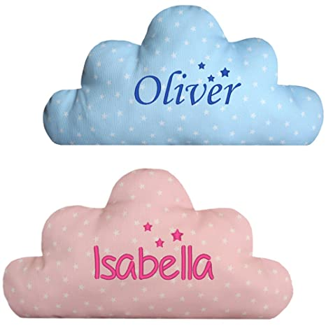 Cojín Infantil Nube Personalizado con Nombre y Tres Estrellitas, color Azul o Rosa.