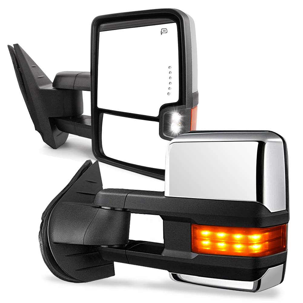 YITAMOTOR Towing Mirrors Compatible for Chevy GMC, Power Heated LED Turn Arrow Signal Light Reverse Lights, for 2008-2013 Silverado Sierra All Models, 2007 Silverado Sierra New Body Style by YITAMOTOR