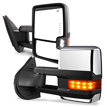 yitamotor towing mirrors compatible for chevy gmc, power heated led turn  arrow signal light reverse