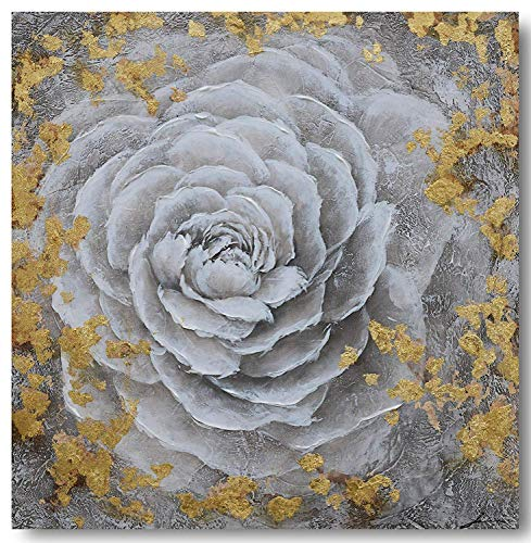 Painting Gold Flowers - Yihui Arts Modern Canvas Print Art Wall Picture White Flower with Gold Foil Painting Contemporary Decor Artwork (20x20IN)