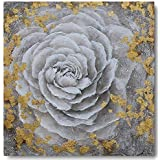 Yihui Arts Modern Canvas Print Art Wall Picture White Flower with Gold Foil Painting Contemporary Decor Artwork (20x20IN)