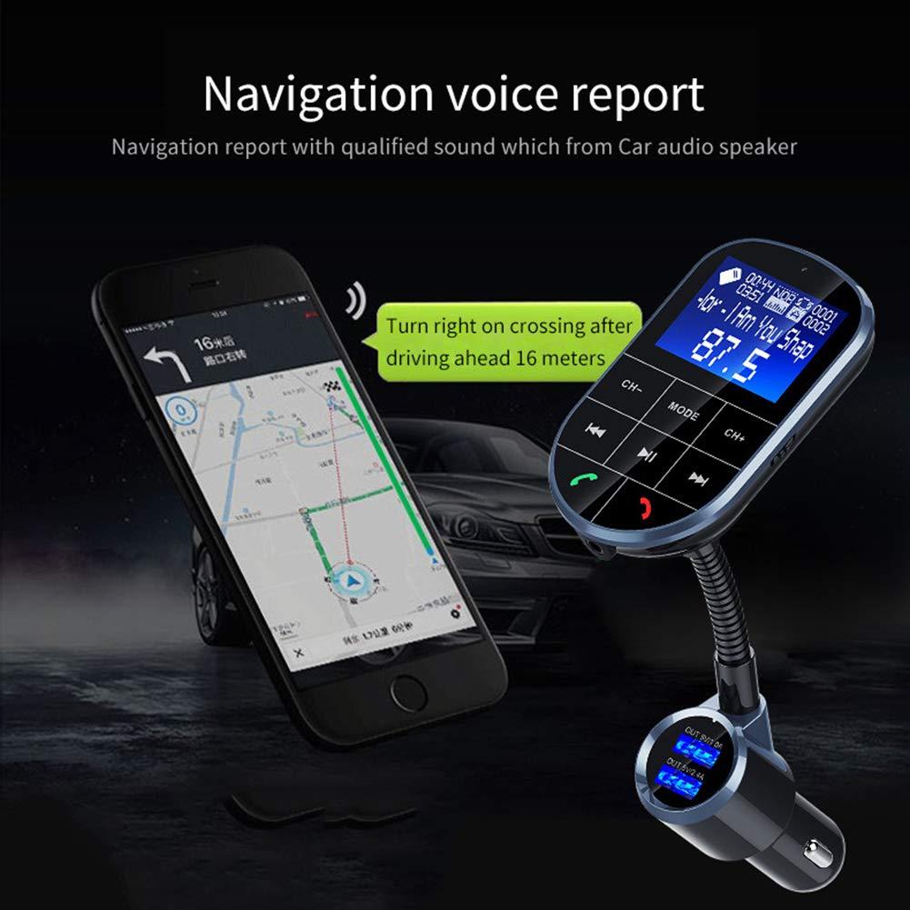 dulawei3 Car Large Screen Radio Hands Free Calling FM Transmitter Bluetooth MP3 Player for iPhone Xs MAX XR X 8//7//6//6s Plus Samsung Galaxy S5//S6//S7//S8//S9 Note 9 8 Huawei Xiaomi LG Black