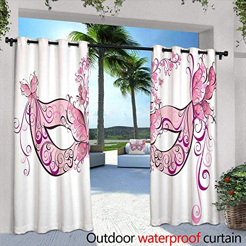 Outdoor Privacy Curtain for Pergola,Seamless Pattern with Hand Painted Watercolor Cactus Plants and Purple flowersPastel Colors Perfect for Your Project Wedding Greeting Card Photos Blog -