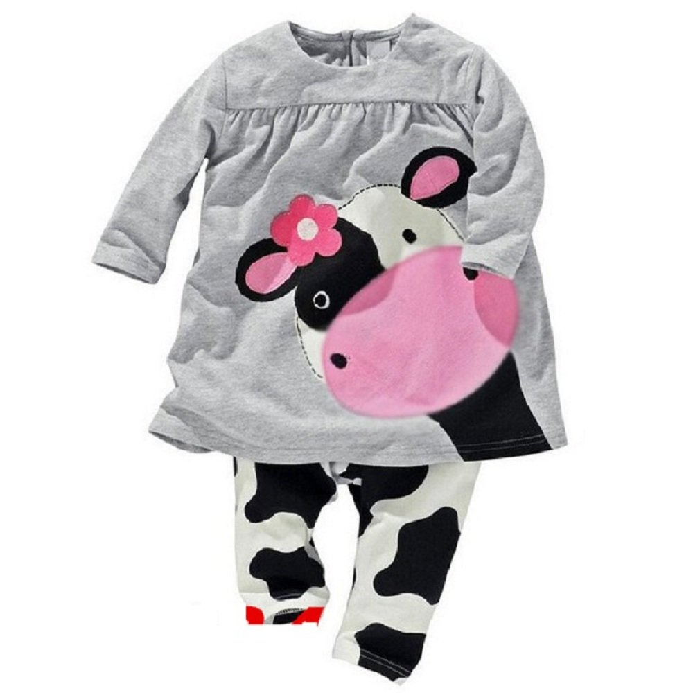 Hooyi Girl Sleepwear Cotton Children Long Sleeve Cow Pajamas Set