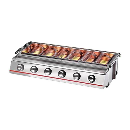 Itop 6 Grabadora Amarillo BBQ Parrilla de gas Acero - Rótulo/cristal (Picnic al aire libre Barbacoa, plata: Amazon.es: Jardín