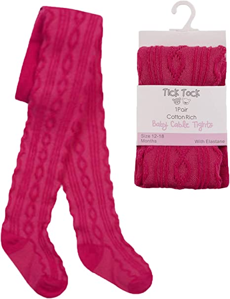 Girls  Cerise Winter Cotton Rich Tights Age 1-2 Years