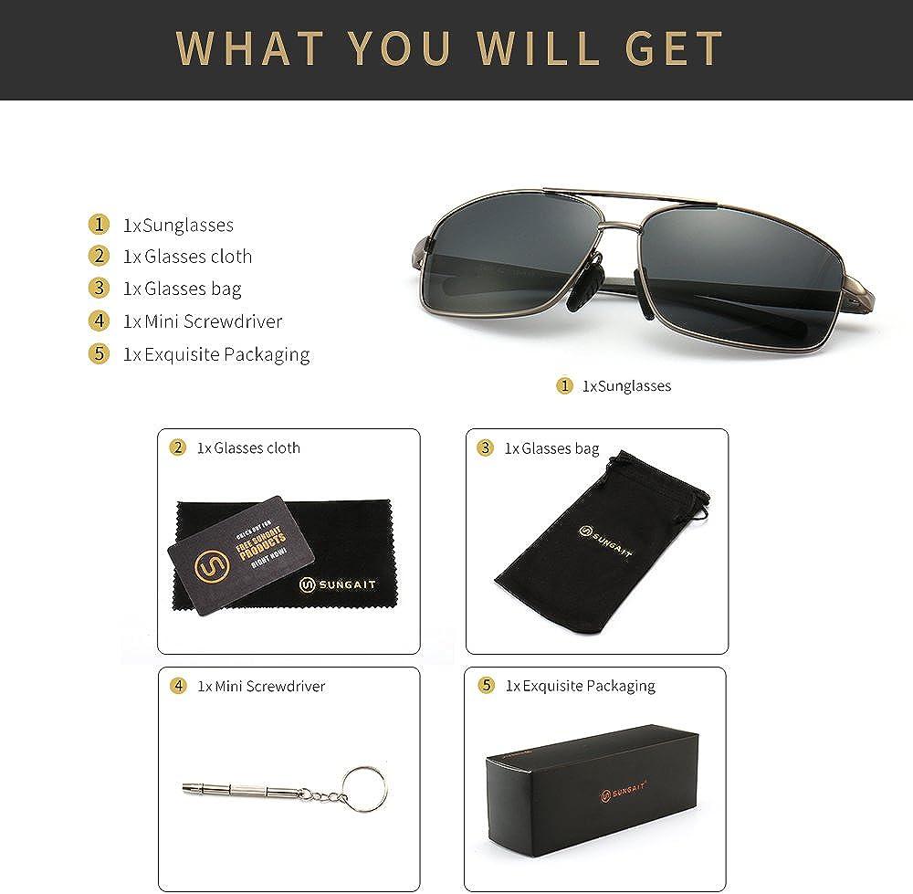 SUNGAIT Ultra Lightweight Rectangular Polarized Sunglasses UV400 Protection (Gunmetal Frame Gray Lens, 62) Metal Frame 2458 QKH: Clothing