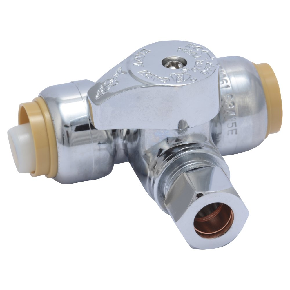 SharkBite 24984A Service Tee Stop Valve, 1/2 inch x 1/2 inch x 3/8 inch, Quarter Turn, Compression Service Stop Fitting, Water Valve Shut Off, Push-to-Connect, PEX, Copper, CPVC, PE-RT