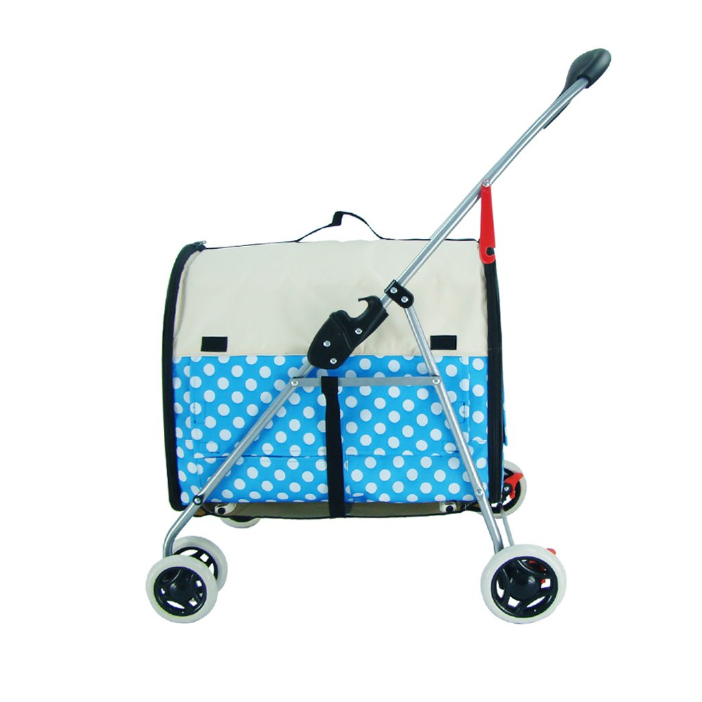 bluee DS- Pet stroller Pet Stroller Cat Stroller Small And Light Portable Foldable Separate Washable Puppy Scooter Pet Car Cage Pet Supplies && (color   bluee)
