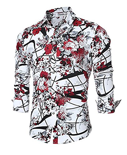 Cloudstyle Men Shirt Stylish Slim Fit Button Down Long Sleeve Floral Shirt,Red,X-Large