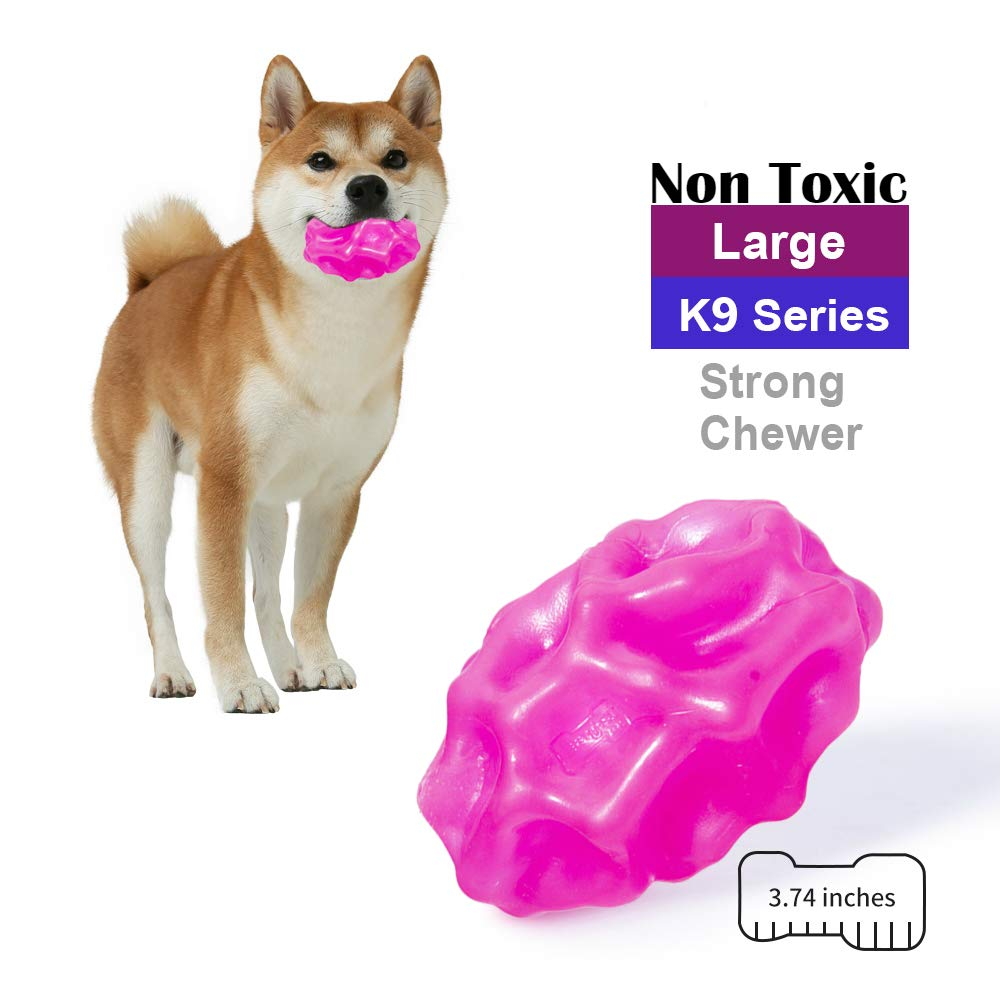 EETOYS K9 Max Durable Dog Toys for Aggressive Chewers Lifetime Replacement Guaranteed Non Toxic TPE Rubber Treat Dispensing Dog Ball for Small and Medium Dogs
