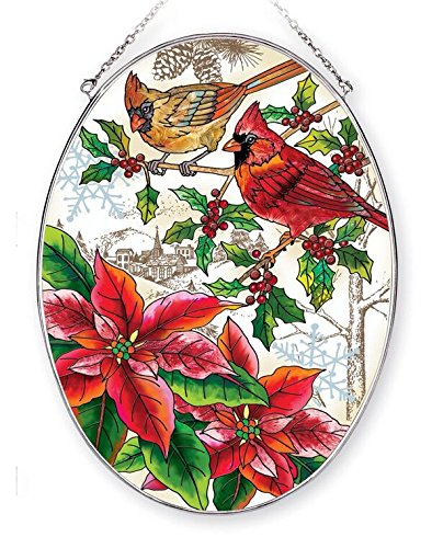 Amia 42404 Hand-Painted Glass Christmas Cardinals, Large Hand-Painted Glass Oval Suncatcher, 9